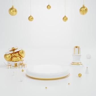 Produktanzeigeständer weiß und gold mit herz- und kugelelement und geometrie. hintergrundillustration über valentinstag-konzept. 3d-rendering.