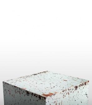 Produktausstellungsstand hergestellt aus altem metall des rostigen schmutzes