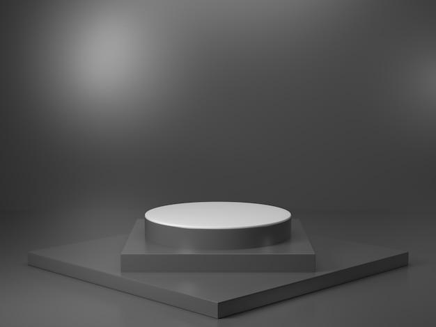 Produktausstellungsstand mit schwarzem wiedergabebild der farbe 3d, gibt es schwarzen zylinderstand mit schwarzer linie muster und licht von oben