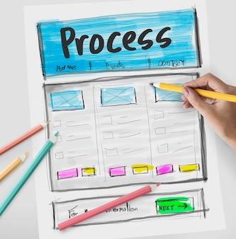 Produktdesign-zeichnung website-grafik