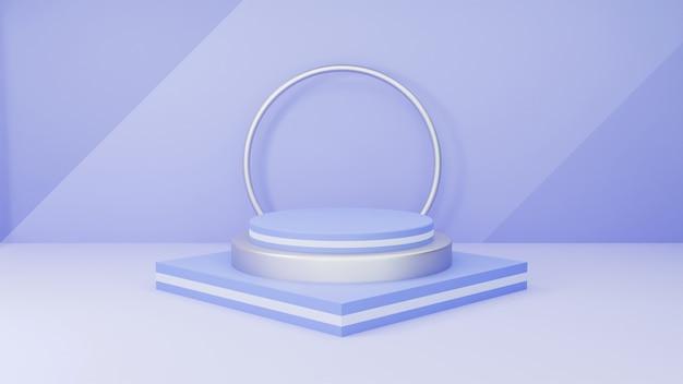 Produktdisplay 3d minimalistisches podium geometrische szene weiches blaues thema silber metallic