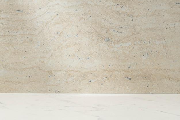 Produkthintergrund aus beigefarbenem stein, vitrinendisplay