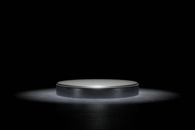 Produkthintergrund-bühne oder podest-sockel auf grunge-straßenboden mit glühscheinwerfer und leer