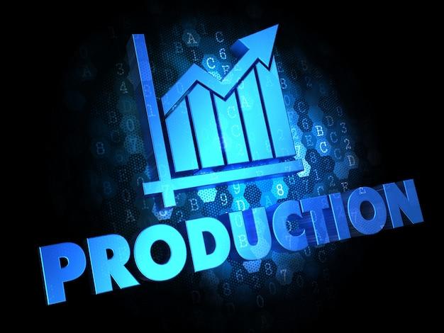 Produktionskonzept - blauer farbtext auf dunklem digitalem hintergrund.