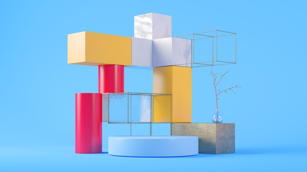 Produktpräsentationsszene im 3d-rendering des blauen hintergrunds
