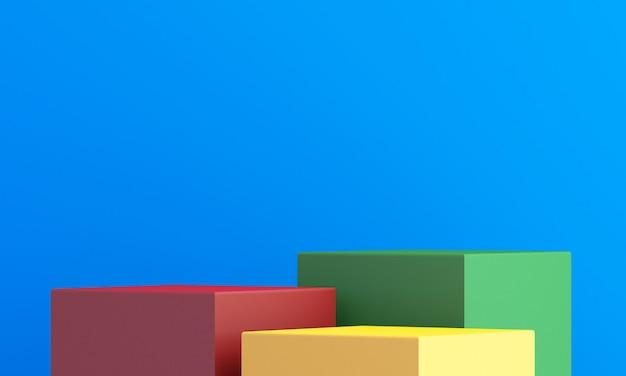 Produktständer, buntes 3d-modell zur präsentation, bunter hintergrund, 3d-rendering