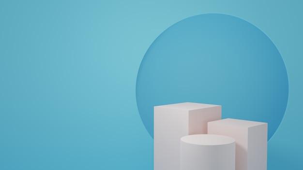 Produktständer im blauen raum studioszene für produkt minimales design3d-rendering