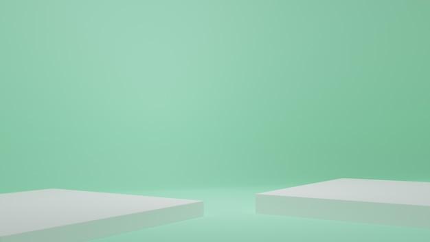 Produktständer im grünen raum studioszene für produkt minimales design3d-rendering