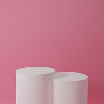 Produktständer im rosa raum studioszene für produkt minimales design3d-rendering
