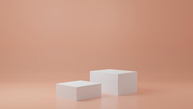 Produktständer in cremeraum studioszene für produkt minimales design3d-rendering