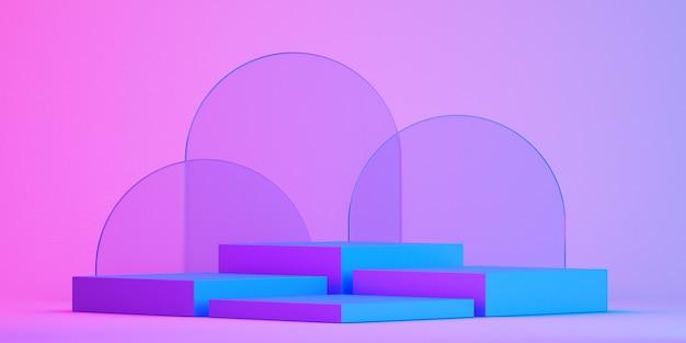 Produktstand 3d-modell für präsentation, bunter hintergrund, 3d-rendering