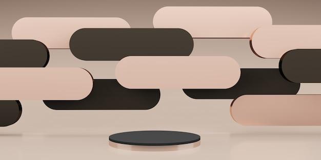 Produktstand im klassischen stil szene retro-roségold 3d-illustration