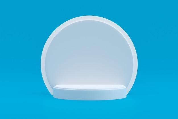 Produktstand, podium minimal auf blau für kosmetische produktpräsentation.