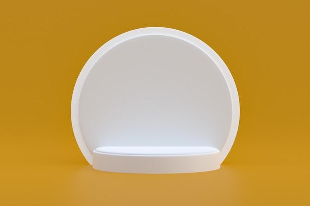 Produktstand, podium minimal auf braun für kosmetische produktpräsentation.