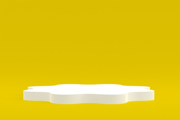 Produktstand, podium minimal auf gelb für kosmetische produktpräsentation.
