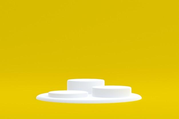 Produktstand, podium minimal auf gelbem hintergrund für die präsentation kosmetischer produkte.