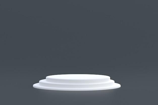 Produktstand, podium minimal auf grau für kosmetische produktpräsentation.