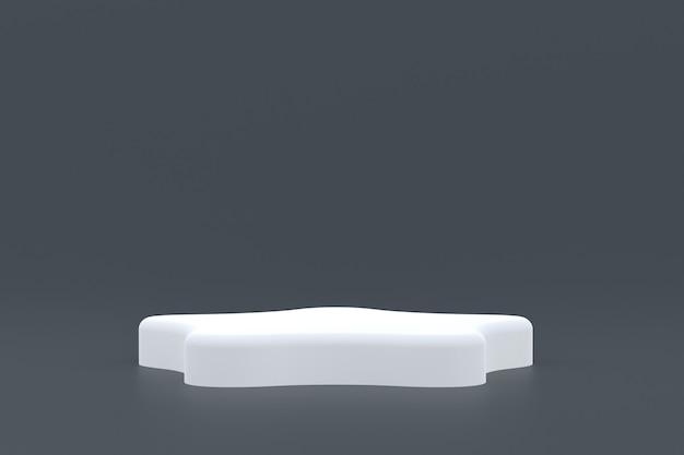 Produktstand, podium minimal auf grauem hintergrund für die präsentation kosmetischer produkte.