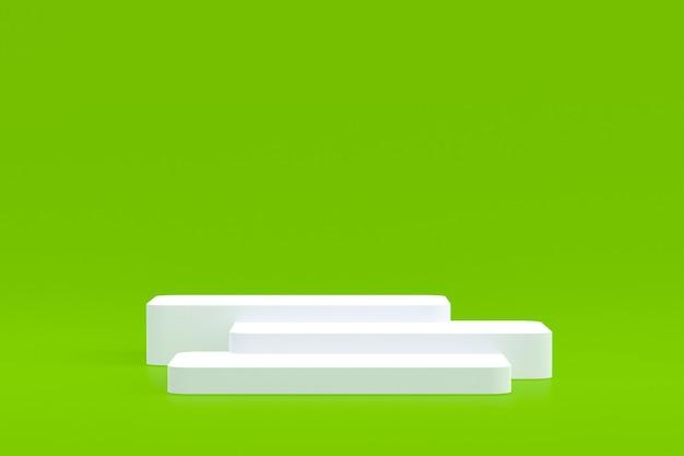Produktstand, podium minimal auf grün für kosmetische produktpräsentation.