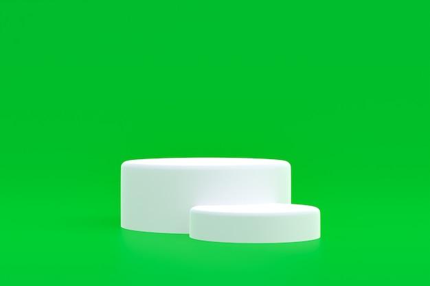 Produktstand, podium minimal auf grünem hintergrund für die präsentation kosmetischer produkte.