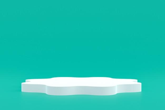 Produktstand, podium minimal auf grünem hintergrund für kosmetische produktpräsentation.