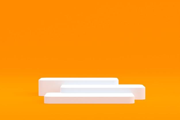 Produktstand, podium minimal auf orangefarbenem hintergrund für die präsentation kosmetischer produkte.