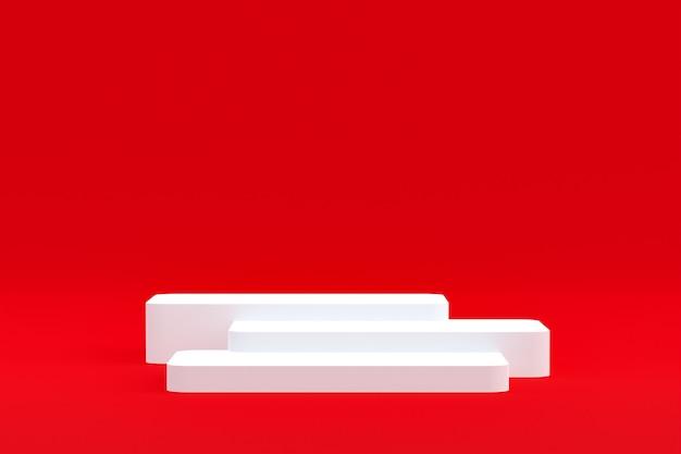 Produktstand, podium minimal auf rotem hintergrund für die präsentation von kosmetischen produkten.