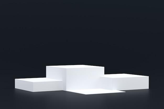 Produktstand, podium minimal auf schwarzem hintergrund für die präsentation von kosmetischen produkten.