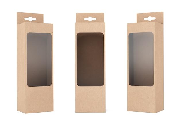 Produktverpackungsbox mit aufhängeschlitz und transparentem filmfenster auf weißem hintergrund. 3d-rendering.