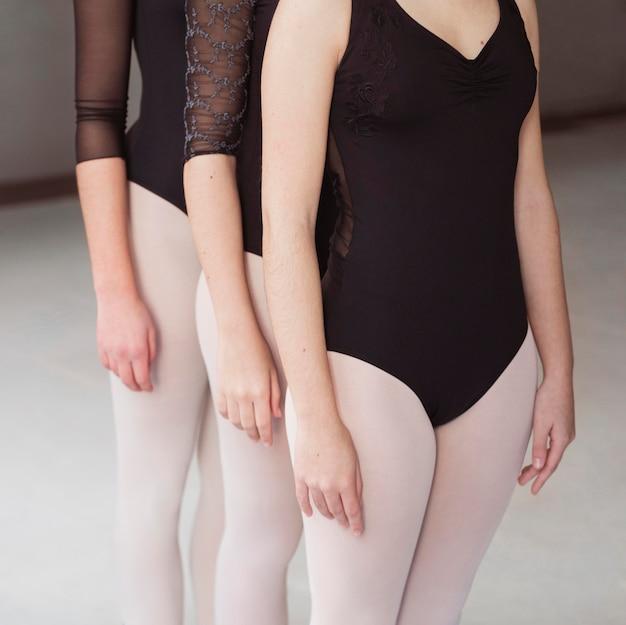Professionelle balletttänzer, die zusammen in trikots trainieren