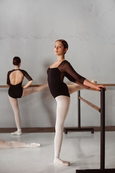 Professionelle balletttänzerinnen, die zusammen in trikots und spitzenschuhen trainieren