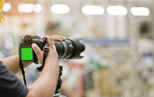 Professioneller fotograf, nahaufnahme digitalkamera