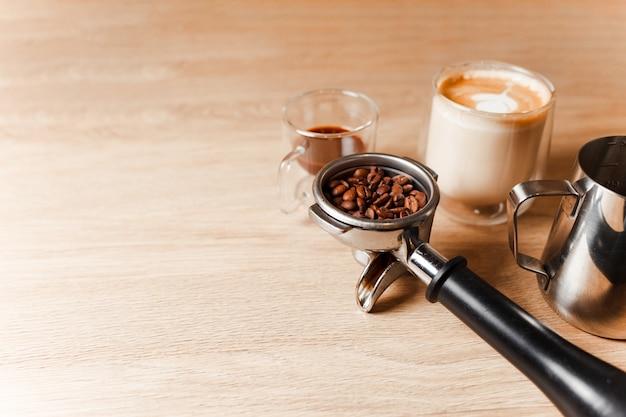 Professionelles kaffeezubehör-konzept
