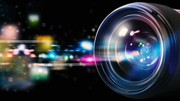 Professionelles objektiv der reflexkamera mit lichteffekten