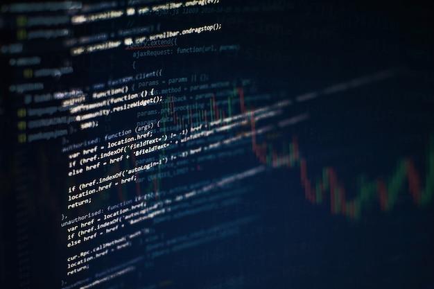 Programmiercode für entwickler. abstrakter computerskriptcode. programmiercode-bildschirm des softwareentwicklers. arbeitszeit für softwareprogrammierung.