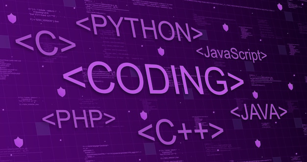 Programmiersprachen auf technischem lila hintergrund mit codeelementen und lichtlinien