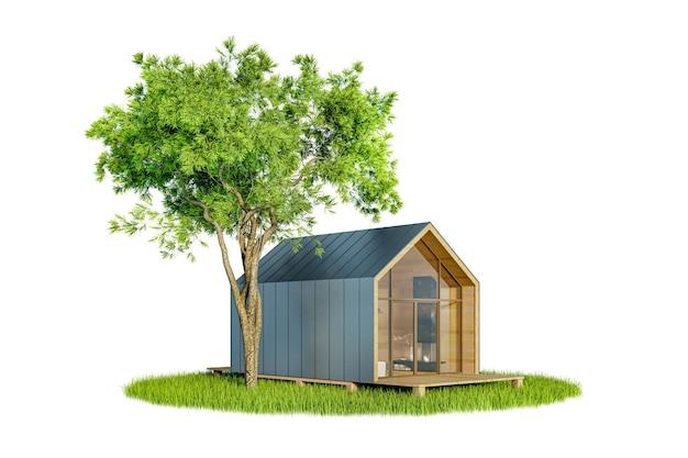 Projekt eines modernen kleinen holzhauses im skandinavischen scheunenhaus