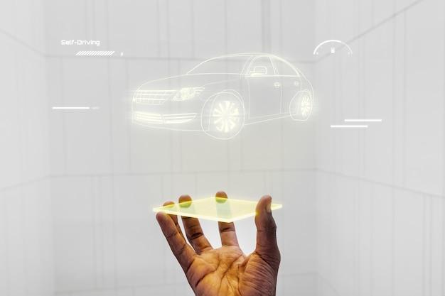 Projektionshologramm für intelligente fahrzeugschnittstellen