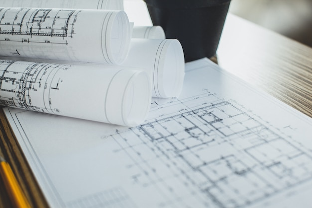 Projektzeichnungen und werkzeuge, close up