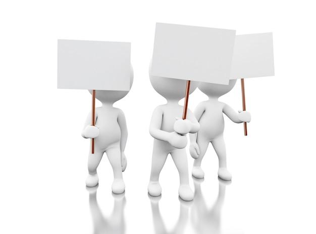 Protest der weißen leute 3d