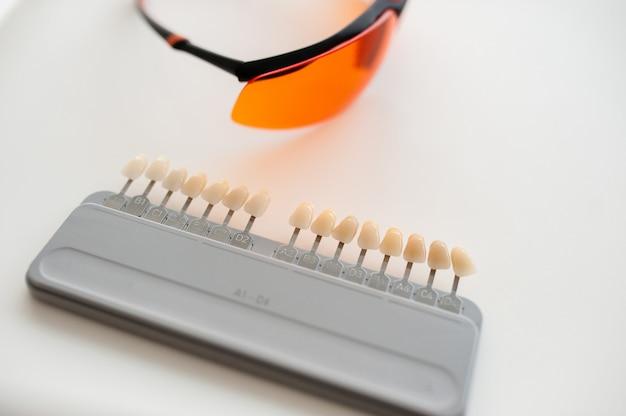 Prothesen- und implantatherstellung: falsche zahnfarbenmuster