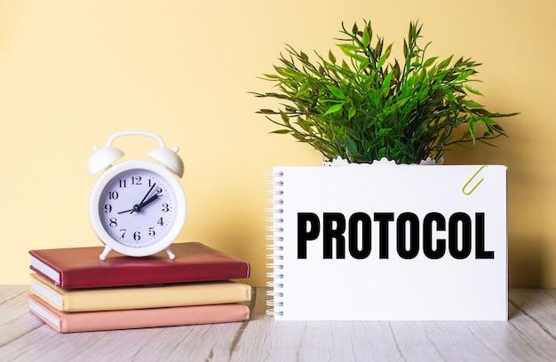 Protokoll steht in einem notizbuch neben einer grünen pflanze und einem weißen wecker, der auf bunten tagebüchern steht.