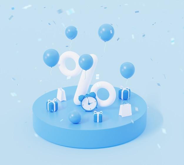 Prozentsatz auf dem podium mit fliegenden ballons und geschenken in blauen farben 3d-rendering