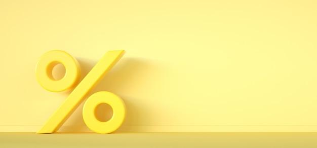 Prozentsymbol auf gelbem hintergrund mit kopienraum. verkaufskonzept. 3d-rendering