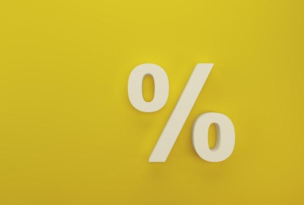 Prozentzeichensymbol-ikonenweiß auf gelb