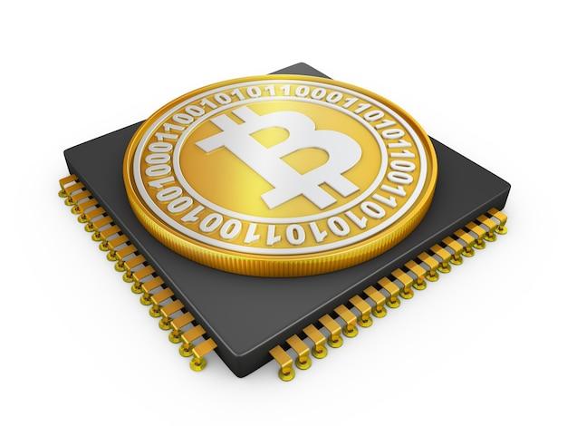 Prozessor- und bitcoin-münze