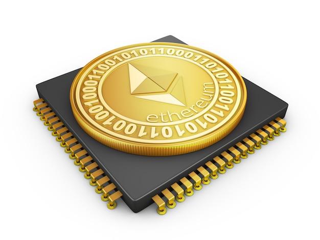 Prozessor und die ethereum-münze