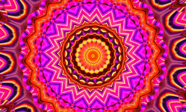 Psychedelisches korallenrotes und lila kaleidoskop mit gelben spiralen. optische expansionsillusion
