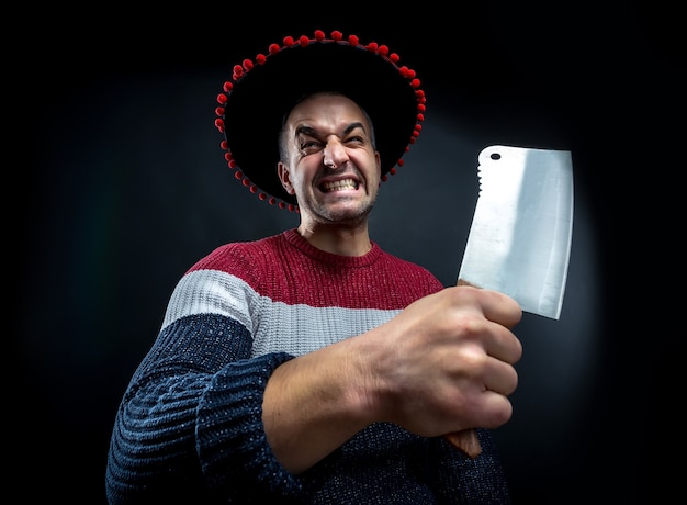 Psycho-mann mit fleischerbeil.