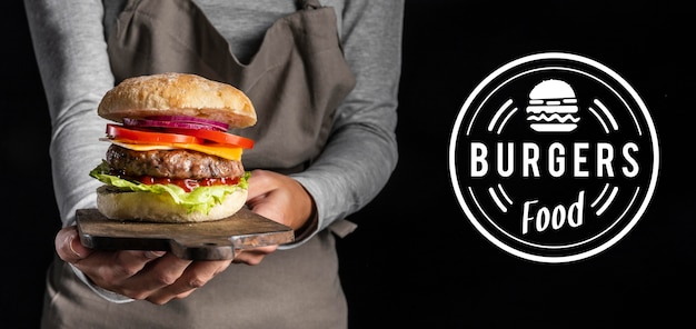 Pub promo mit leckerem burger